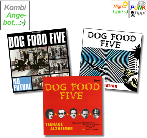 DOG FOOD FIVE - LP+CD-Kombiangebot-3 - LP No Future + CD My Degeneration + CD Teenage Alzheimer (Lim. Carbon Edit.)