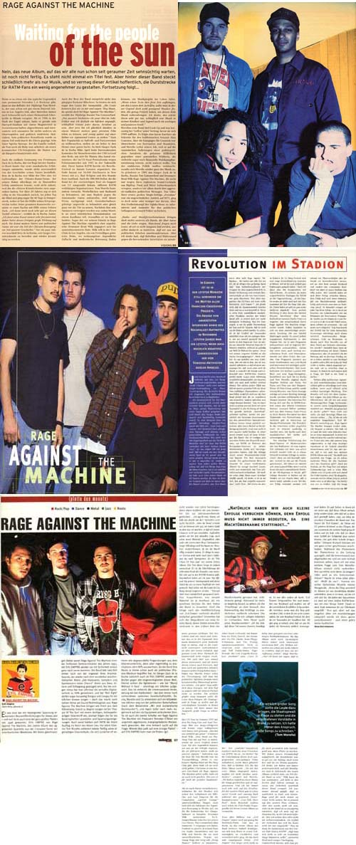 Rage01 - RAGE AGAINST THE MACHINE - PRESSEARTIKEL - Revolution im Stadion /  Waiting For The People Of The Sun